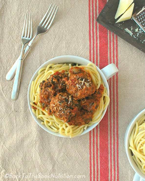 A healthier version of spaghetti and meatballs with chopped spinach & mushrooms | Back To The Book Nutrition