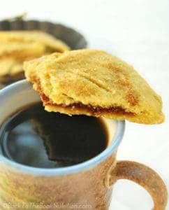 Hot coffee and homemade pumpkin hand pies - fall breakfast doesn't get much better! | Back To The Book Nutrition
