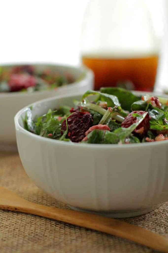 Green Salad Recipe Roundup - Strawberry Beet Salad with Balsamic Honey Mustard Dressing | Back To The Book Nutrition