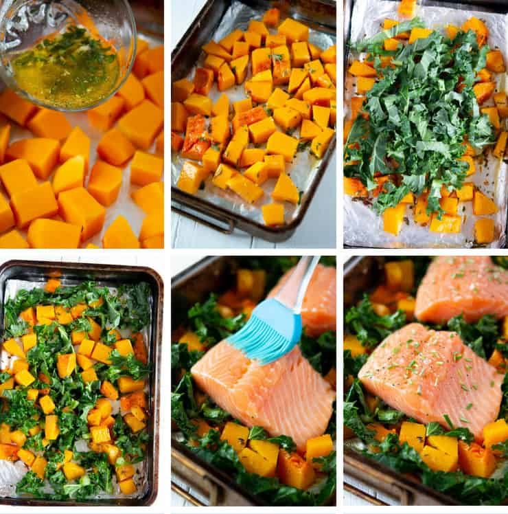 Step by step photos for making an easy salmon traybake