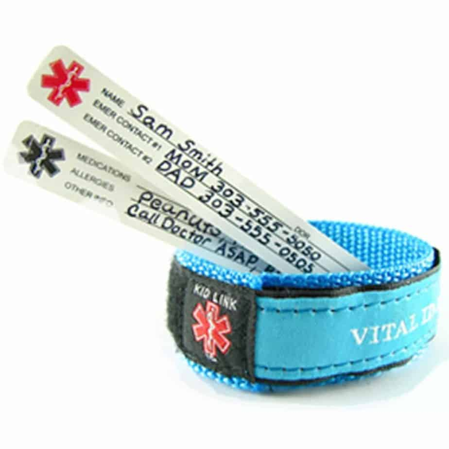 velcro ID bracelet to keep kids safe while traveling