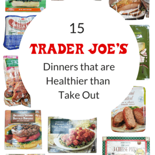 collage of healthy trader joe's dinners with title text overlay