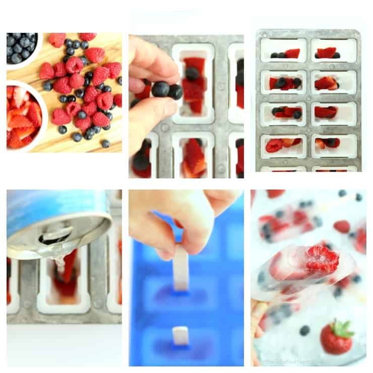 Step by step tutorial for making coconut water and fresh berry popsicles