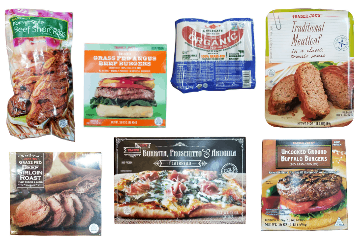 Collage of 7 beef dinners from Trader Joe's