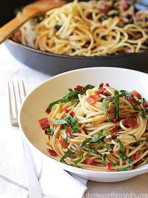 Savory Pasta with Onions, Bacon, and Greens from Don't Waste The Crumbs