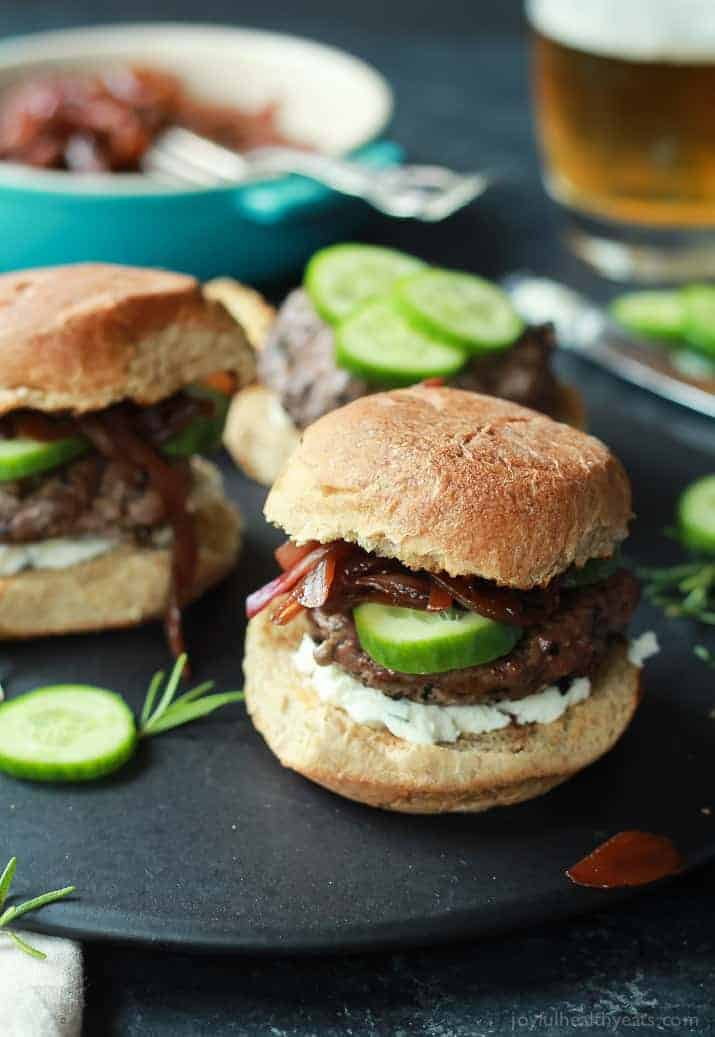 Grilled Lamb Burgers with Whipped Feta and Cucumber from Joyful Healthy Eats