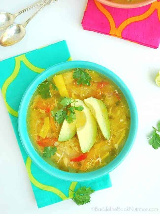 Easy Pollo de Caldo is a delicious and comforting Mexican Chicken Soup made with homeade chicken stock, vegetables, and just the right amount o Mexican herbs and spices | Back To The Book Nutrition