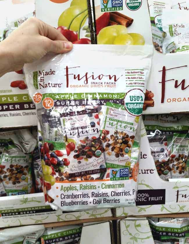 Healthy, single serve Fusion dried fruit and seeds pouches from Costco | Back To The Book Nutrition