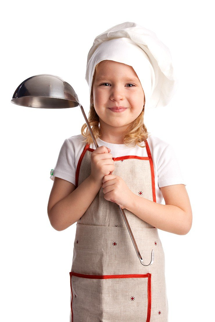 young child with cooking apron and soup ladle
