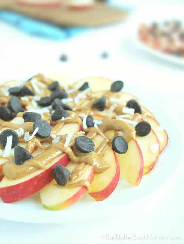 Apple Nachos - a healthy after school snack ready in minutes! | Back To The Book Nutrition