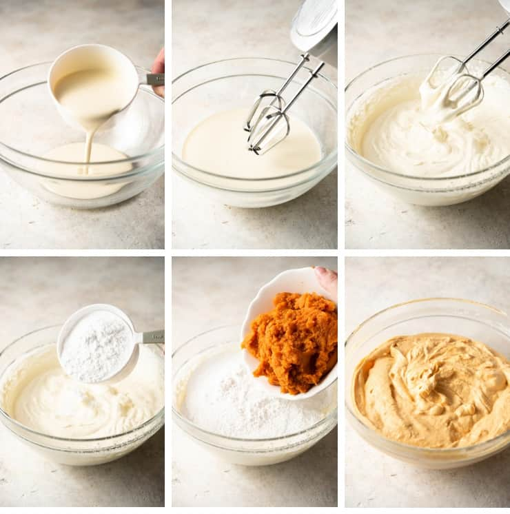Step by step photos of making easy pumpkin ice cream