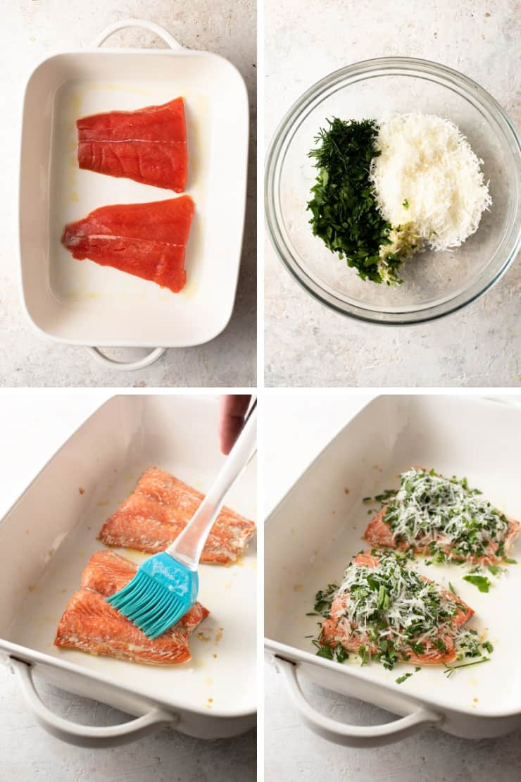 Step by step photos for making salmon with parmesan crust and herbs