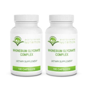 Two bottles of Magnesium Glycinate complex on white background