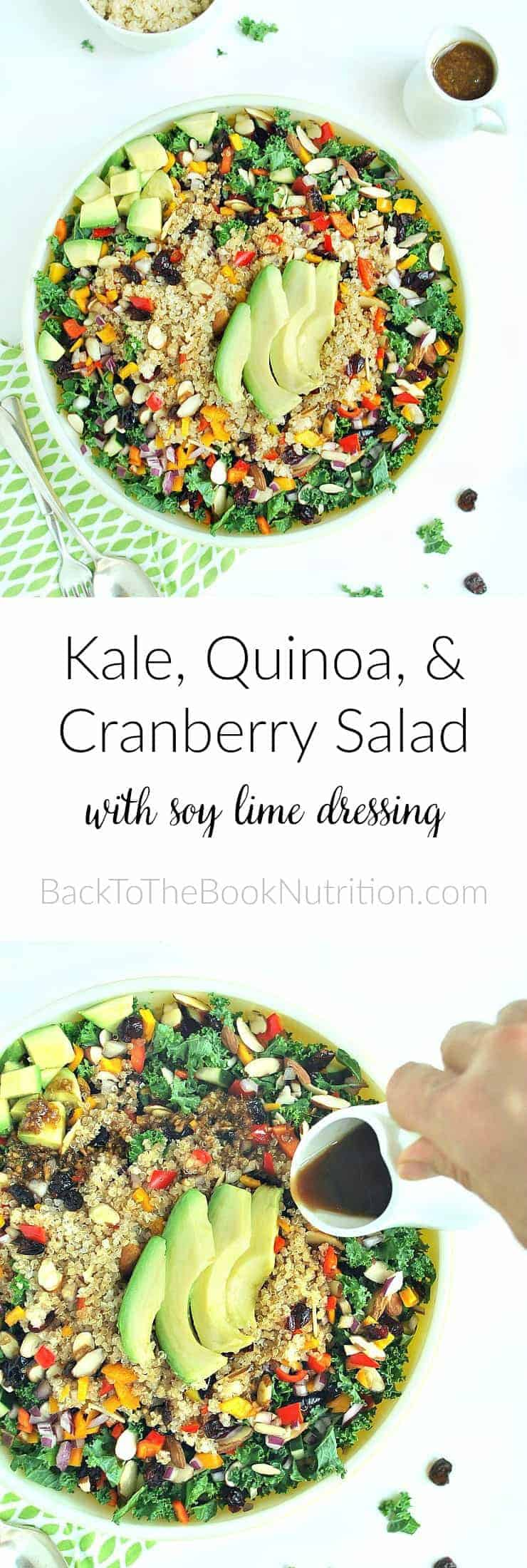 Superfood kale, quinoa, and cranberry salad with soy lime dressing. Loaded with flavor and texture, plus antioxidants, fiber, healthy fats, and more! | Back To The Book Nutrition
