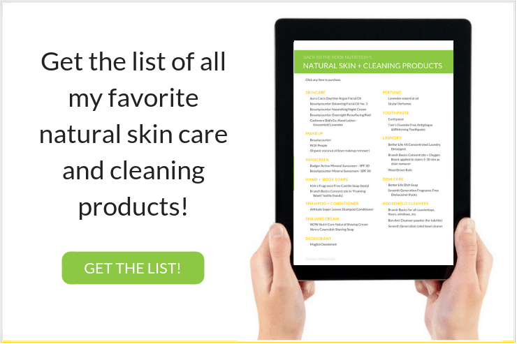 List of natural skin and cleaning products on tablet - click to download!