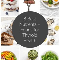 Collage of healthy foods for thyroid with title text overlayed